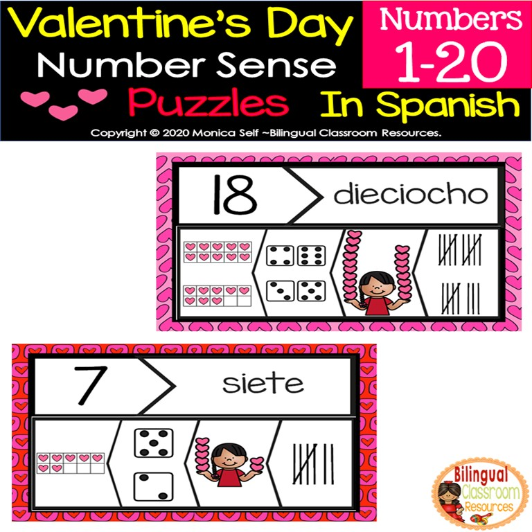 Valentine's Day Number Sense Puzzles In Spanish 1-20