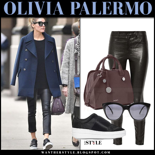 Olivia Palermo in navy zara coat, black leather j brand edita pants and burgundy leather bag max and co what she wore streetstyle
