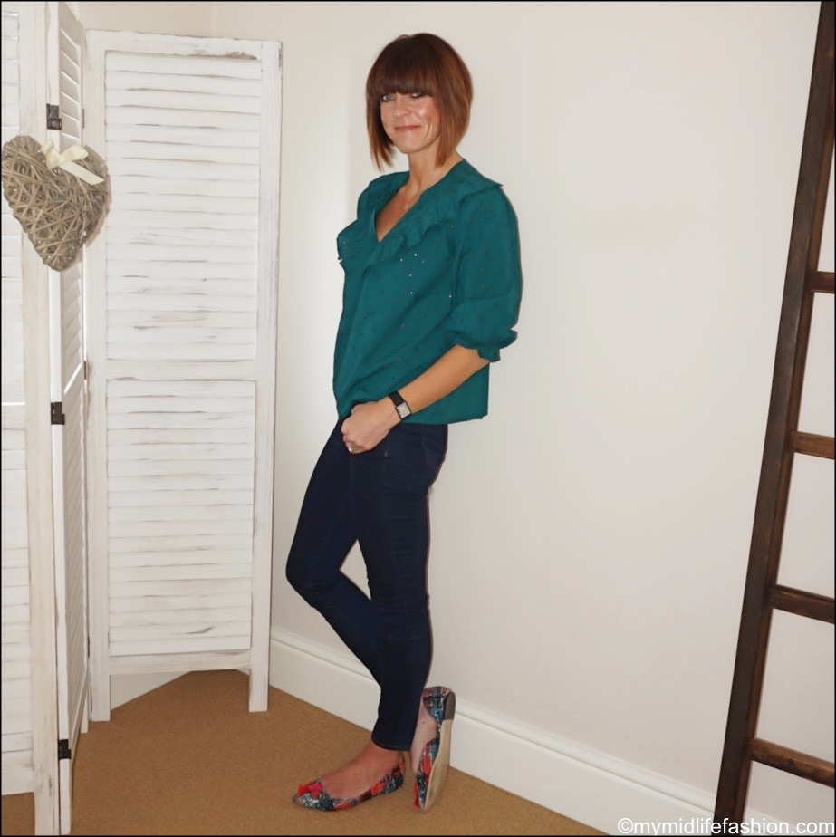 my midlife fashion, Zara embroidered blouse, j crew 8 toothpick in classic wash, j crew tweed pointed flats