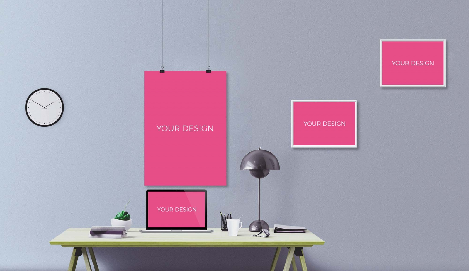 Workspace and Posters Mockup