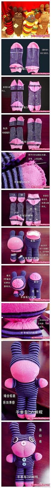 creatividad de un peluche hecho con un calcetin