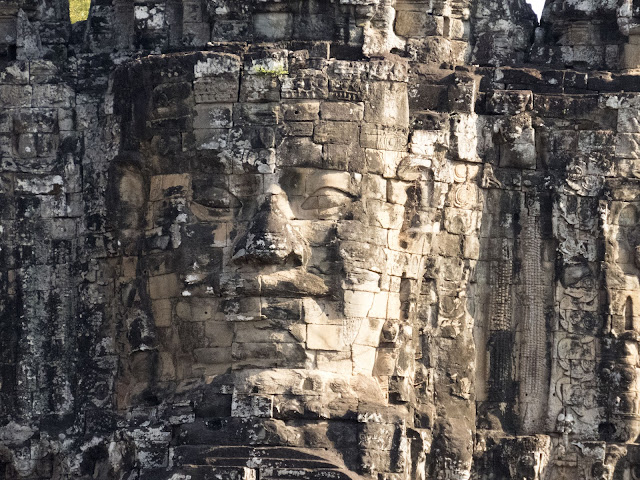 Giant face at Bayon Temple in Angkor near Siem Reap Cambodia