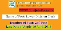 Jharkhand Staff Selection Commission Recruitment 2018– 265 Lower Division Clerk