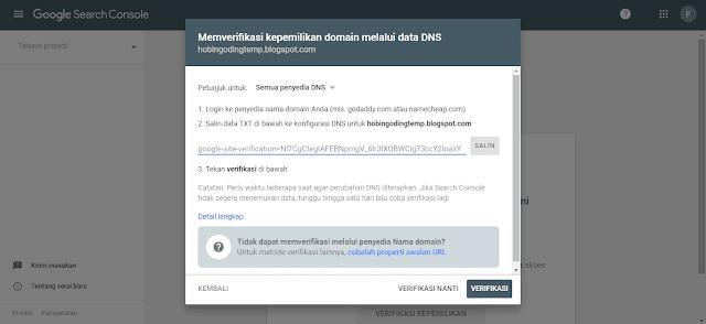 Melakukan Verifikasi Manual untuk Submit Blog ke Google Webmaster