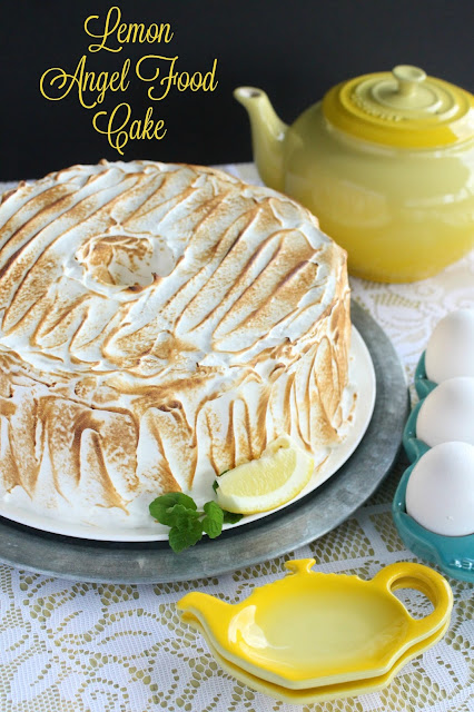 Lemon Meringue Angel Food Cake from LoveandConfections.com #BrunchWeek