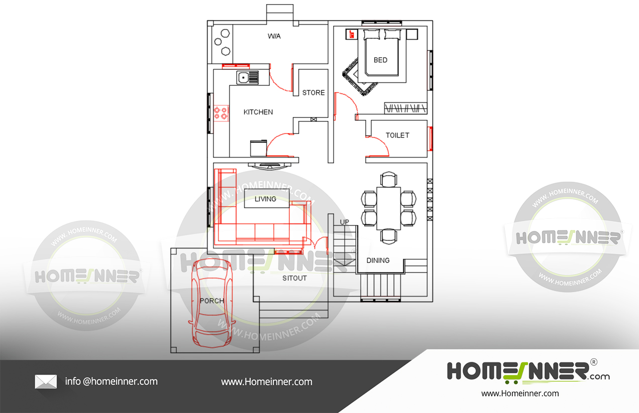 Free luxury house plan 1800 sq ft 3 Bedroom villa