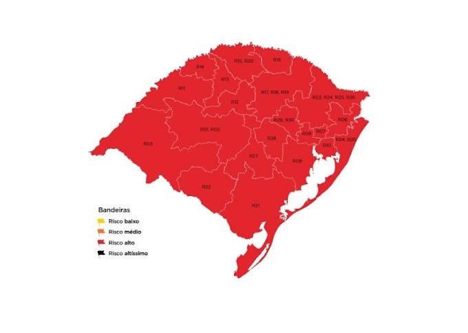 Mapa preliminar do distanciamento controlado coloca Dom Pedrito na bandeira vermelha
