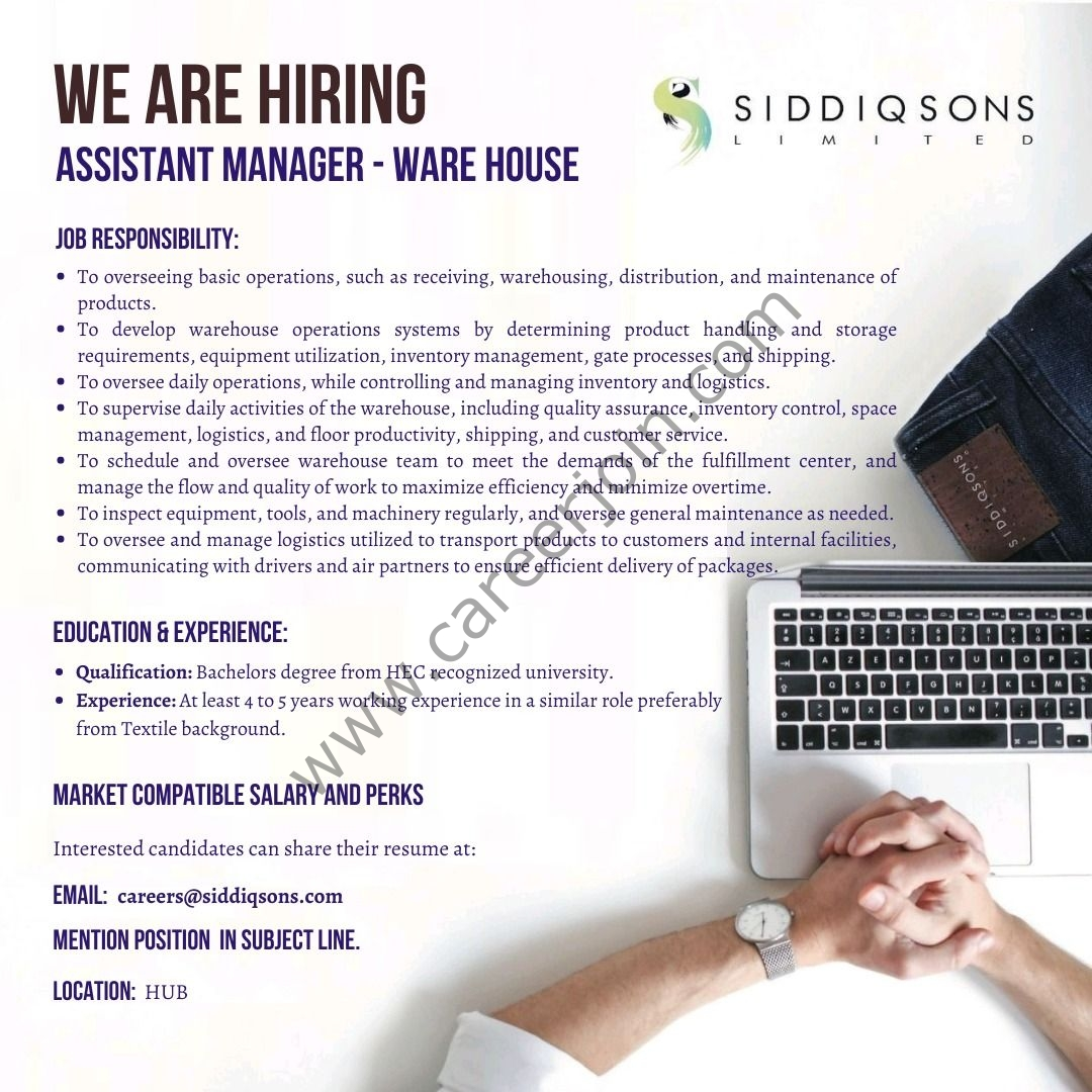Siddiqsons Limited Jobs Assistant Manager Warehouse 2021
