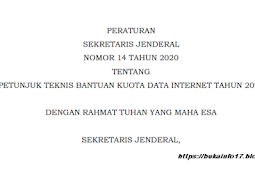 Juknis Persesjen No 14 Tahun 2020 Tentang Bantuan Kuota Data Internet Tahun 2020