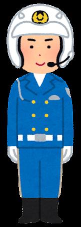 立っている白バイ隊員のイラスト(男性・ヘルメット)