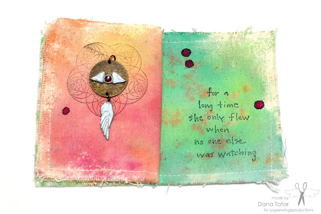 Art Canvas Mini Album Page 5 and 6 by Dana Tatar for Paper Wings Productions