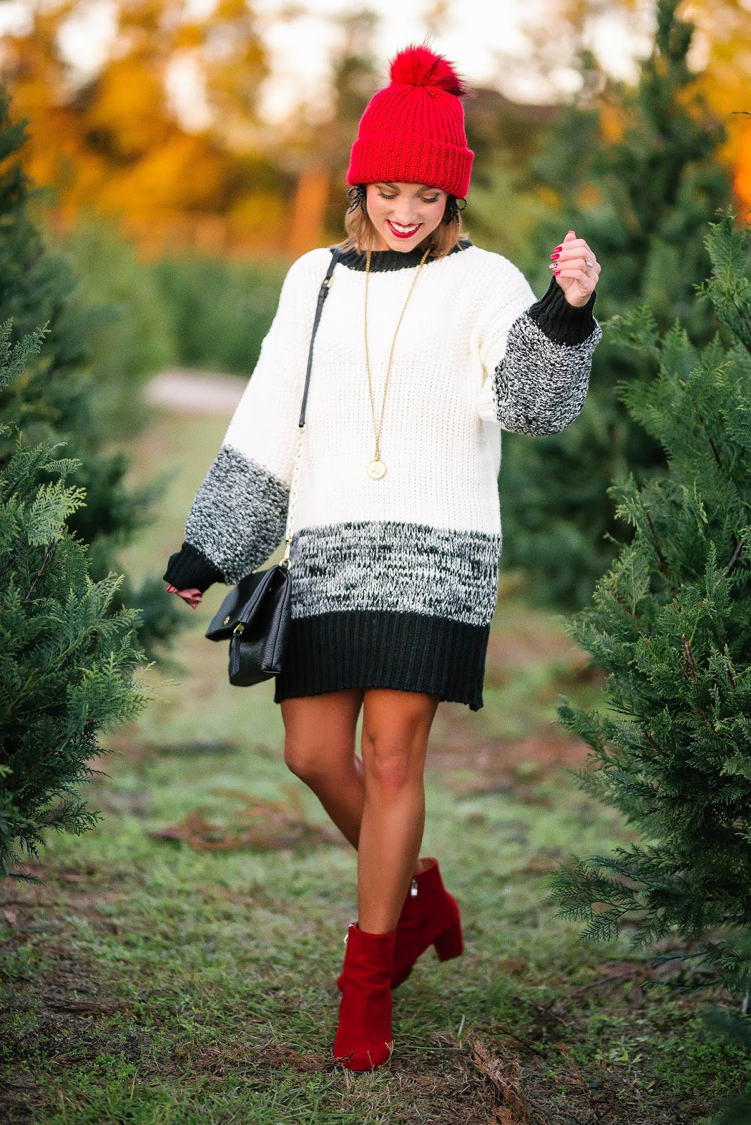 Under $50 Black & White Sweater Dress With Red Accessories - Something Delightful Blog