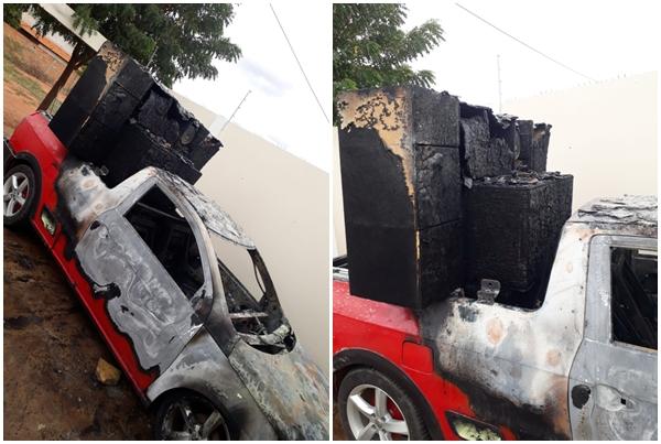 SUDOESTE | Incêndio destrói picape com paredão de som