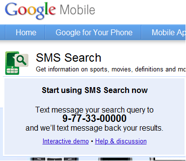 Search result from Google by using your mobile phone