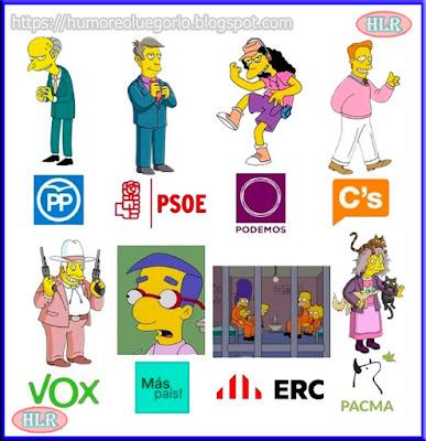 Imagen que muestra la similitud entre los partidos políticos españoles y los Simpson