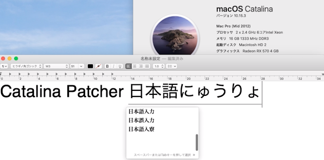 Catalina Patcher 日本語入力