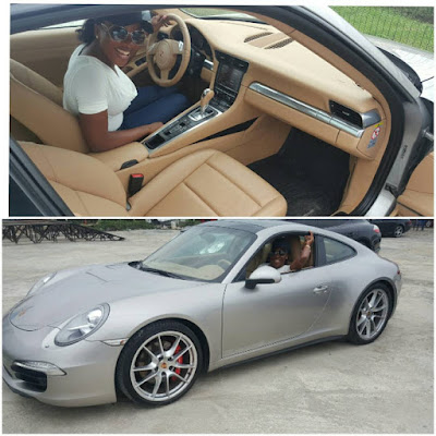 Linda Ikejis Younger Sister Sandra Turned A Year Older Recently And Received As Her Birthday Gift Porsche 911 Carrera 4S The Excited Young Lady Took To