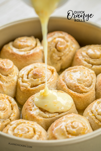 Quick Orange Rolls recipe - AMAZING!!!! We eat these almost every weekend. They are so good! Ready from start to finish in about 30 minutes. French bread dough, cream cheese, brown sugar, orange zest, granulated sugar, powdered sugar and orange juice. You'll never buy the canned orange rolls again. These just can't be beat!!! #cinnamonrolls #breakfast #orangerolls #sweetrolls