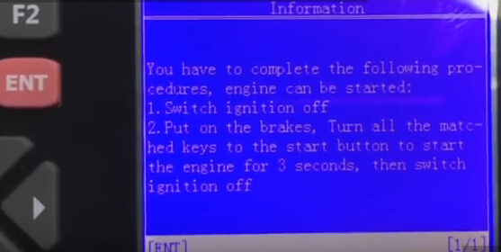 utiliser toutes les clés pour démarrer le moteur pendant 3 secondes