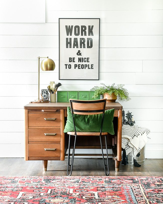 Vintage modern basement office