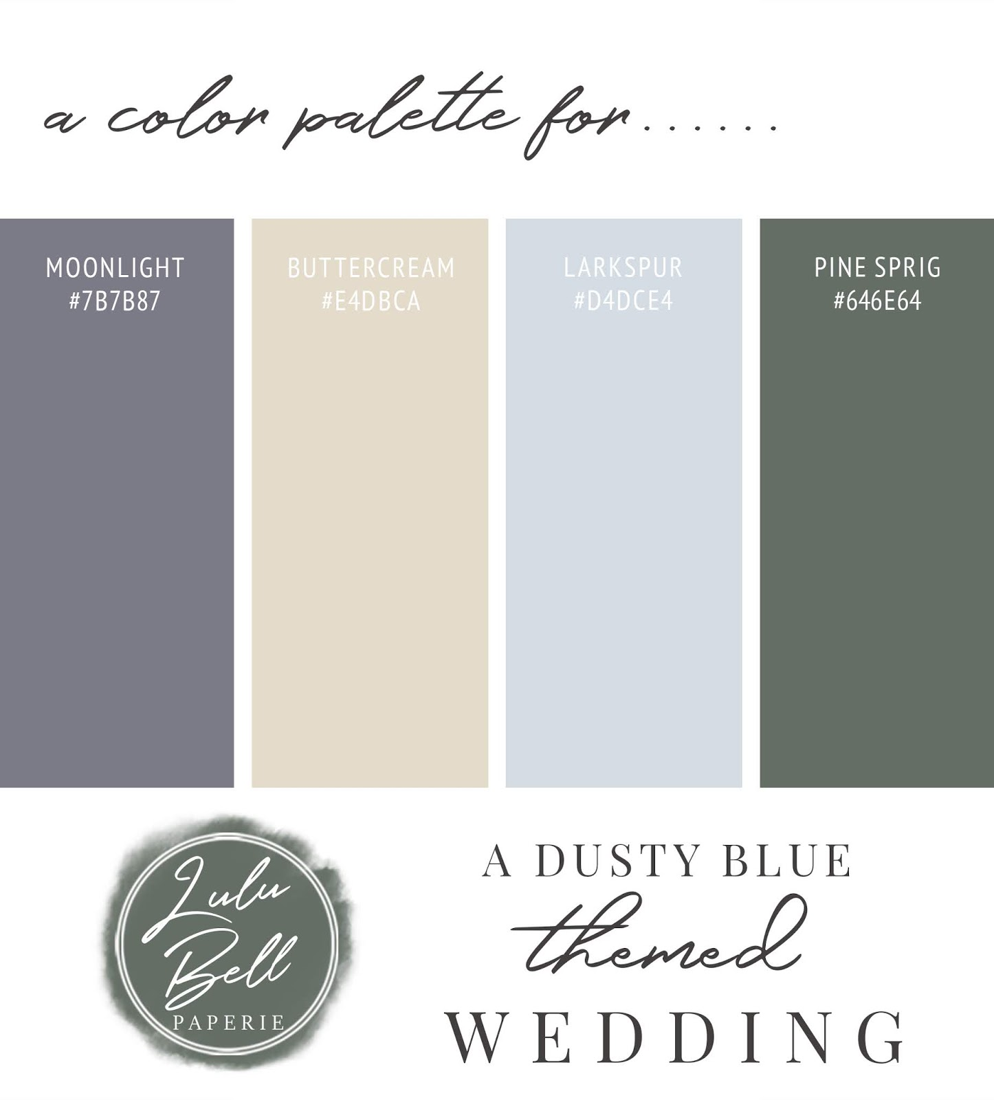 Dusty Blue, Yellow, Navy, and Green Wedding Color Palette Swatch Card : Moonlight, Buttercream, Larkspur, and Pine Sprig