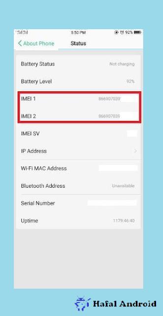 Halaman Status Muncul Cek IMEI HP Oppo