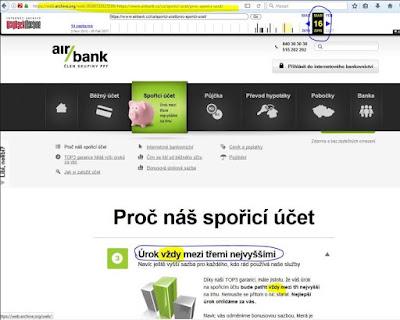 Popis spořicího účtu na webu Air banky