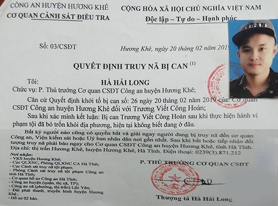 Hà Tĩnh: Truy nã đối tượng ở Hương Khê 'Chém' người gây thương tích nặng rồi bỏ trốn