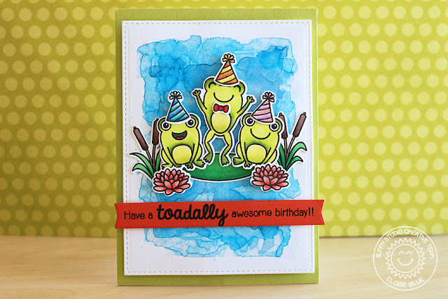 Sunny Studio Stamps: Froggy Friends Toadally Awesome Birthday Card by Eloise Blue.