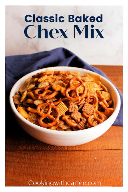 This classic chex mix is perfect.  Each pieces is coated with savory seasoned goodness and it is baked to crisp perfection.  There are no little packets of mix to remember, just simple ingredients you are likely to already have in your pantry. It is good for holiday gatherings, parties, road trip snacks and more.