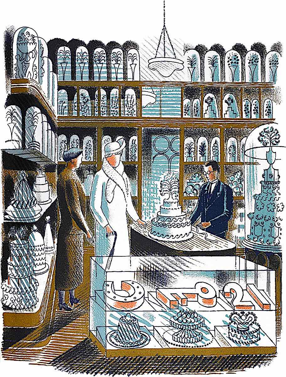 an Eric Ravilious illustration of a wedding supply store