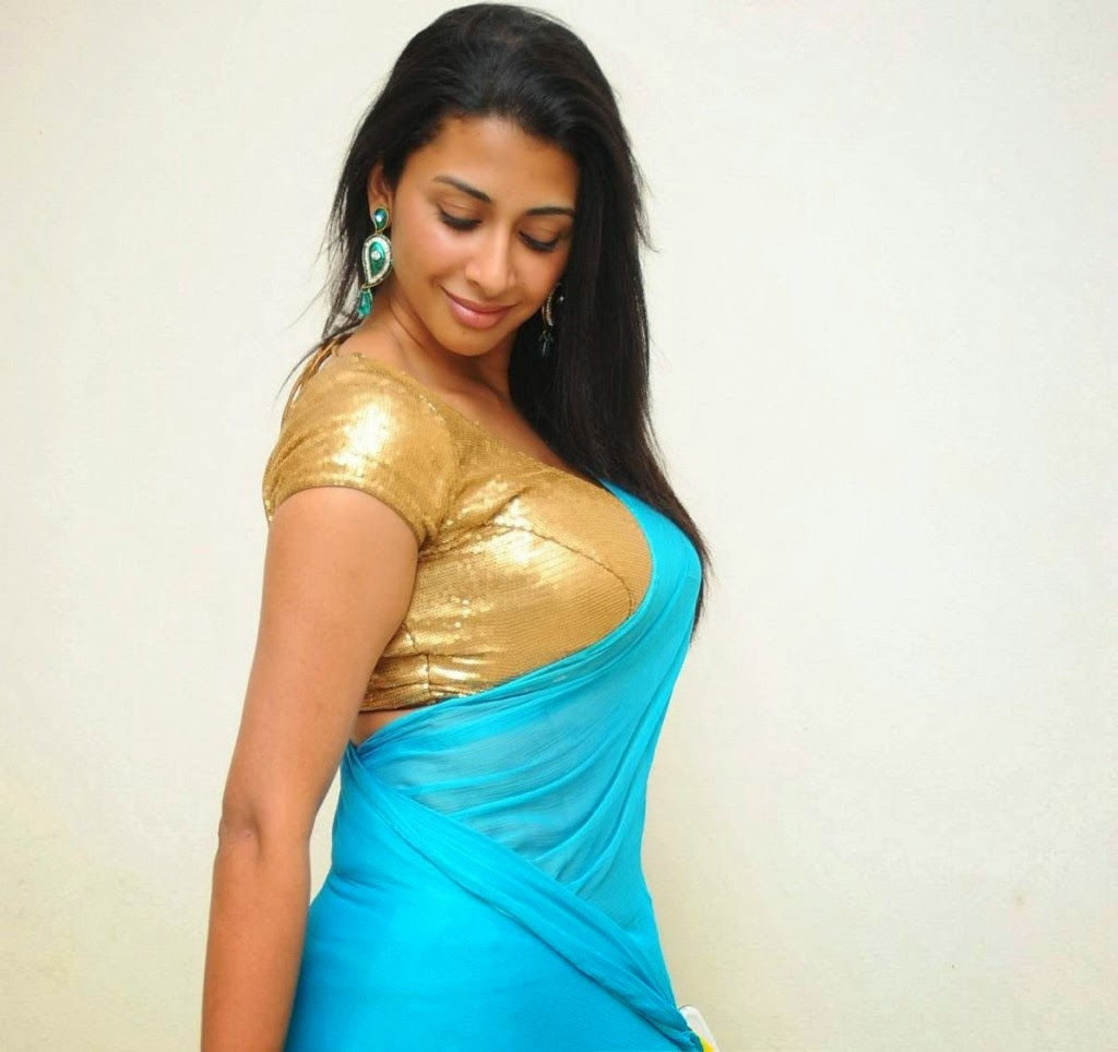 Gayatri Iyer Hot Backless And Side View Pics In Blue Saree
