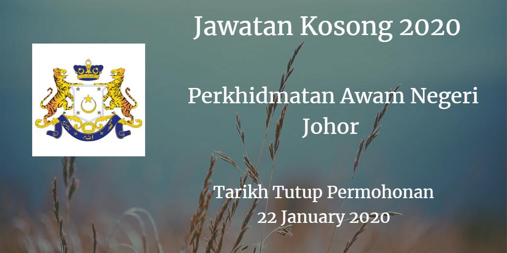 Jawatan Kosong Perkhidmatan Awam Negeri Johor 22 January 2020