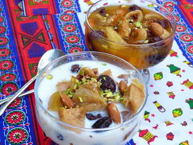 Ägyptisches Rezept für Trockenobstsalat mit Milch oder Aprikosensaft
