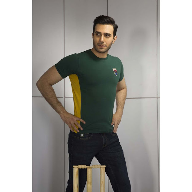 Gul Ahmed Green ubran ghrapic T-shirt for cricket collectio