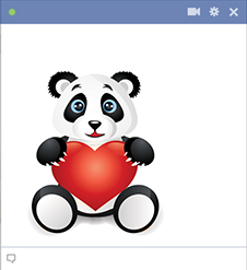 Love panda holding heart icon