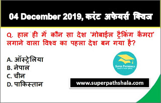 Daily Current Affairs Quiz in Hindi 04 December 2019