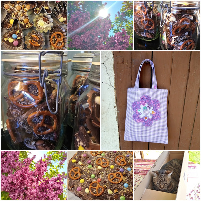 Schokolade - Geschenktasche - Flieder - Katze, Chocolate - Gift Bag - Lilacs - Cat