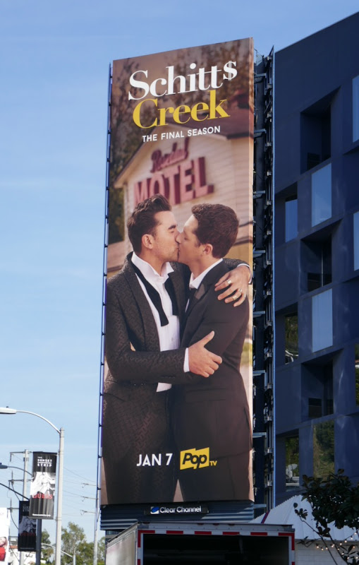 Schitts Creek final season gay kiss billboard