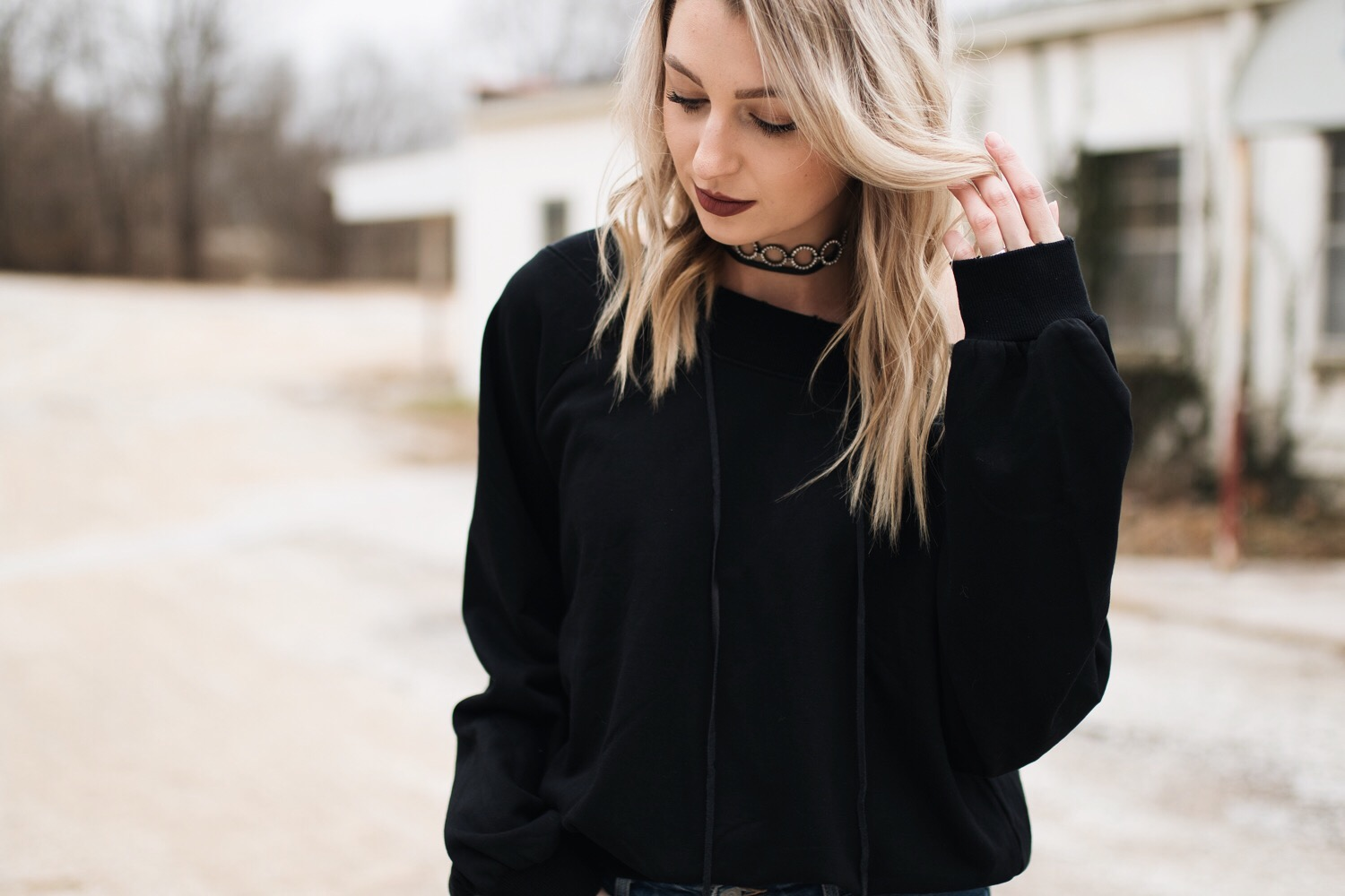 Dressed up black sweatshirt