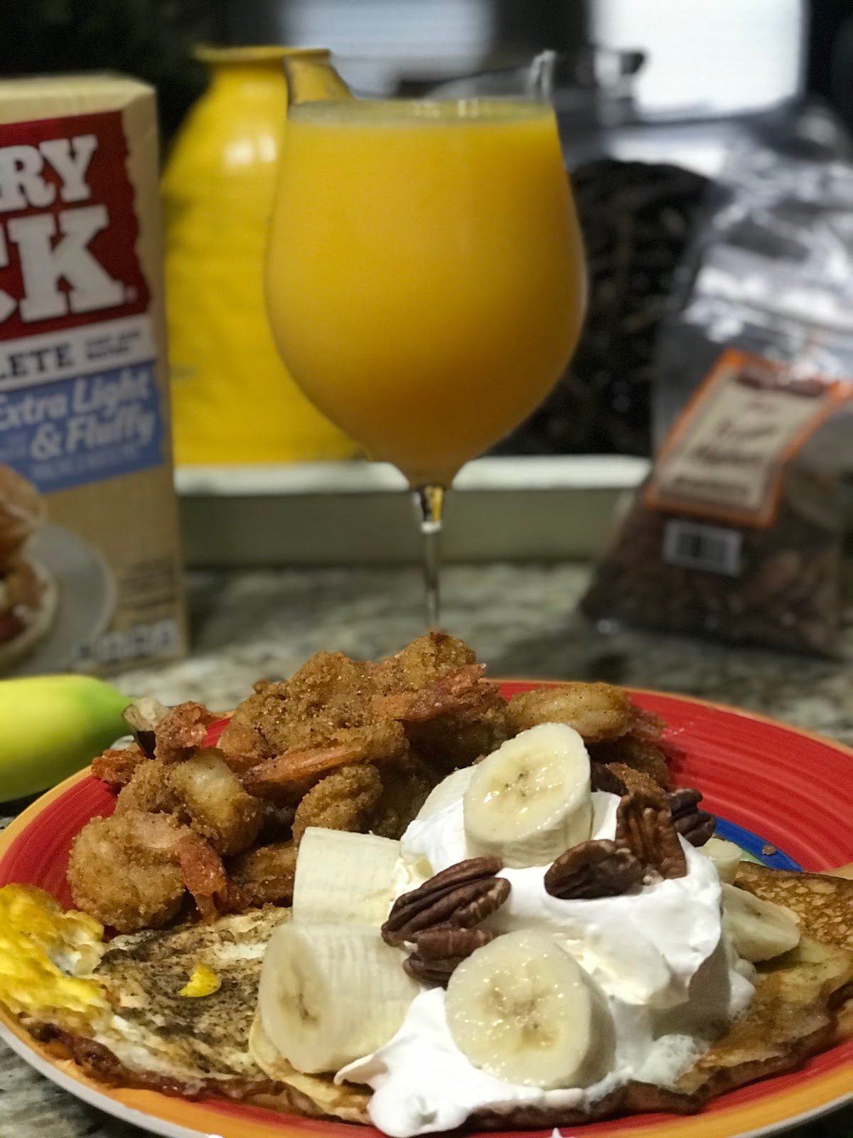 Our Pancakes And Shrimp Tradition! Orange juice, pancakes, eggs and shrimp: Bits Of food