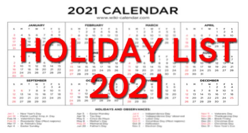 holidays-for-year-2021