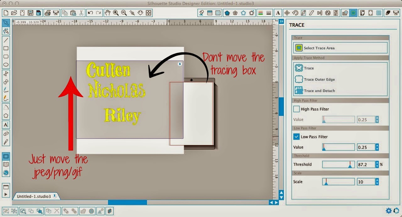 Silhouette Studio, trace tool, half image, troubleshooting
