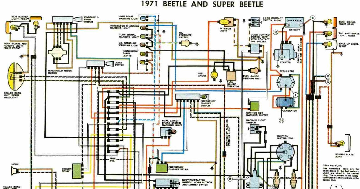 free auto wiring diagram: 1971 vw beetle and super beetle 1971 volkswagen beetle engine wiring