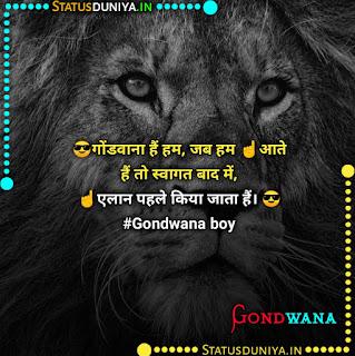 Gondwana Attitude Status Shayari In Hindi 2021, 😎गोंडवाना हैं हम, जब हम ☝️आते हैं तो स्वागत बाद में, ☝️एलान पहले किया जाता हैं। 😎#Gondwana boy