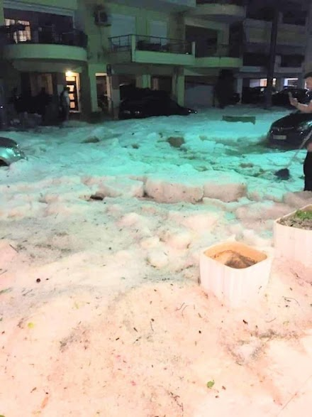 Πρωτοφανής χαλαζόπτωση έπληξε την πόλη της Δράμας