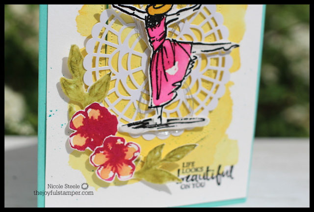 close up of watercolored flowers on Beautiful You card