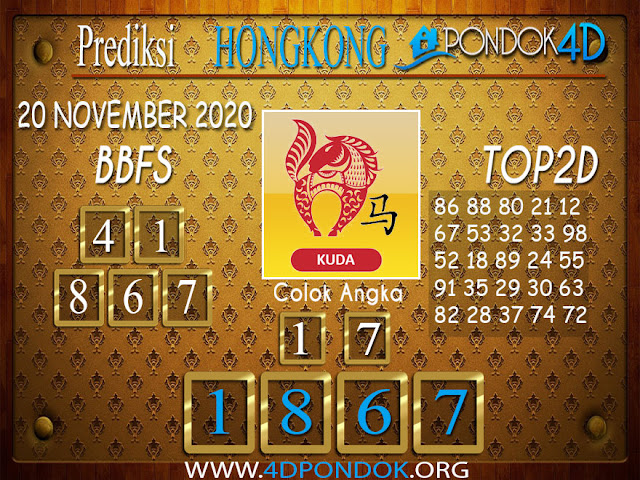 Prediksi Togel HONGKONG PONDOK4D 20 NOVEMBER 2020