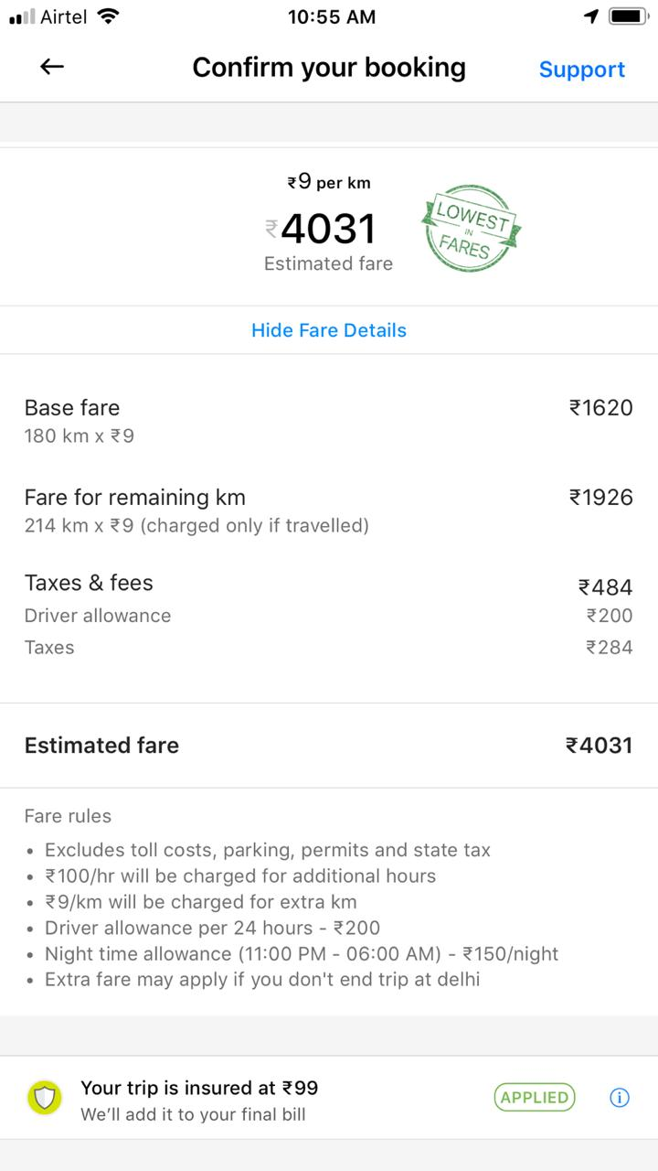 (Above photograph is sample to show how you see details while doing booking for Ola Outstation.)    Disadvantages of Ola Outstation :    1. Usually Ola drivers are not very experienced drivers when it comes to knowing touristy locations and places worth exploring. Mainly because most of these folks drive within cities and that too for quick pick-up/drops.    2. You don't know which car would be allocated to you for your travel and how well maintained it would be. You get to know about the cab details an hour ago your trip starts.     3. Usually local taxi vendors maintain their cars better than Ola (although it's hard to generalise like this. Both the Ola Outstation cars we got were not clean and had issues with AC & music systems. It's hard to find such taxis through local vendors and at least I don't such experience from past).    4. I observed that Ola drivers are not in a habit of staying overnight in different city or at least they pretend, even when there are extra charges for night stay (although it's not huge. Ola charges 200rs for a day and 150 rs for night stay. With this Ola expects driver to manage his/her own stay)     5. You need to be very sure of your itinerary and can't rely on driver to take you around.     6. Many of the OLA drivers drive in cities and rely on CNG gas. On the way, their ignorance may cost more time. Filling once may easily take 20-40 mins depending upon where you want to get it refilled and how long is the queue. Even these cars have Deisel tank but no driver would want to use other fuel because that hits their margins. So you may need to be aware if you come across a filling station which is relatively empty and prompt the driver to get tank filled, if needed.