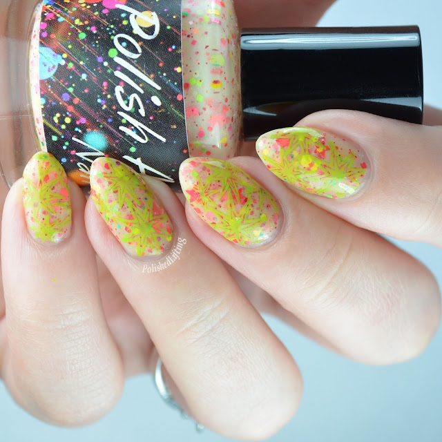 sherbet nail polish with glitter and stamping